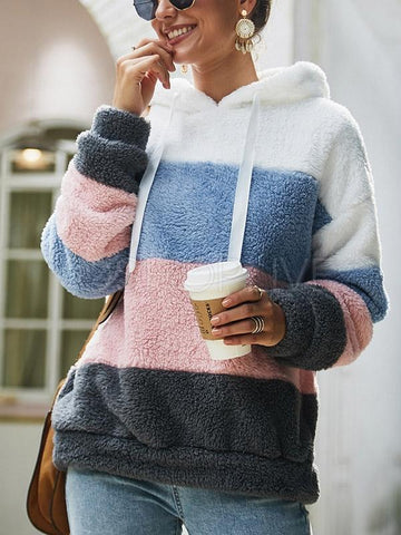 Colorblocked Fleece Hooded Sweater