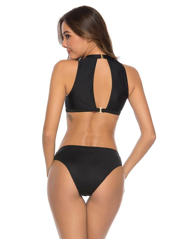 Solid Zipper Top With Panty Bikini Set