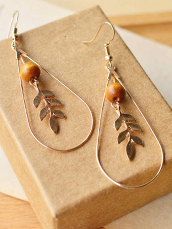 Vintage Leaf Pattern Alloy Earrings Accessories