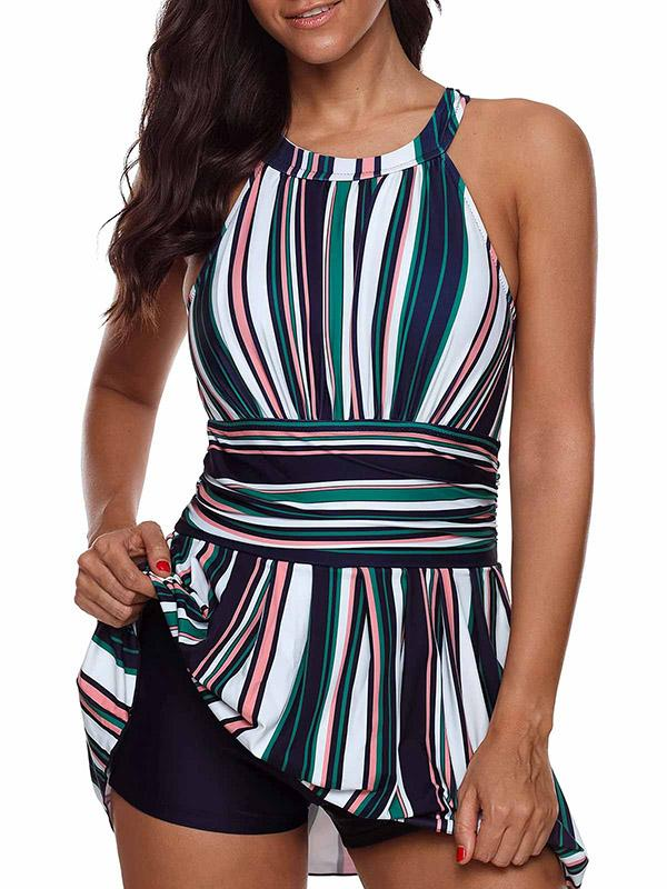 Plus Size Stripes One-piece Swimwear