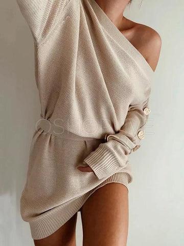 Solid Skew Shoulder Knitting Mini Dress