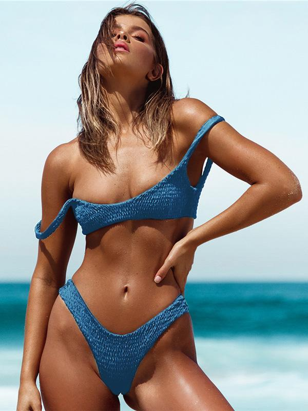Pleated Sexy Plain Bikinis Swimwear