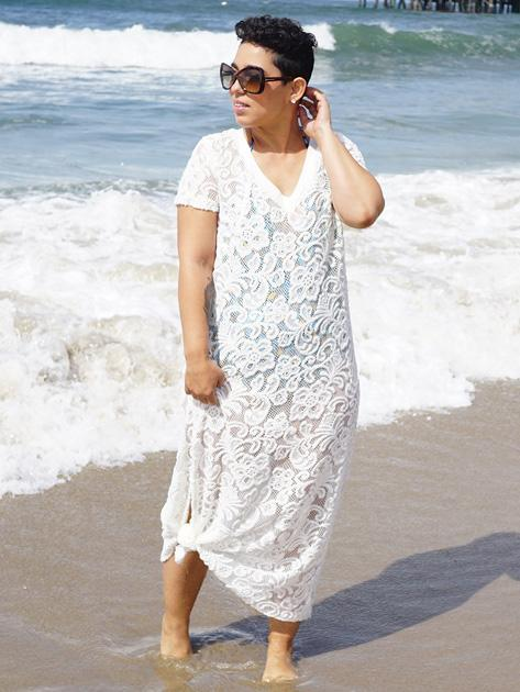 Plus Size Hollow Lace Cover-up Swimwear