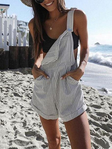 Loose Striped Pockets Overalls Shorts