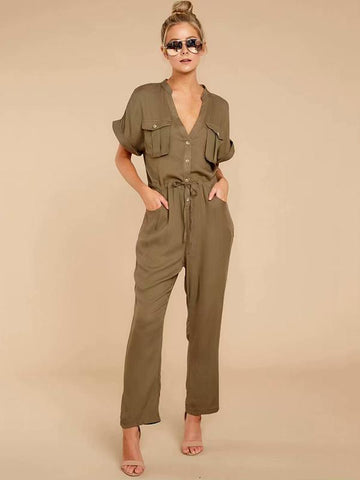 Split-joint V-neck Overall Jumpsuits