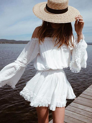 Off-the-shoulder Waisted Flared Sleeve Mini Dress
