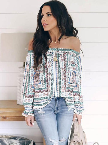Ethnic Style Off-the-shoulder Shirt