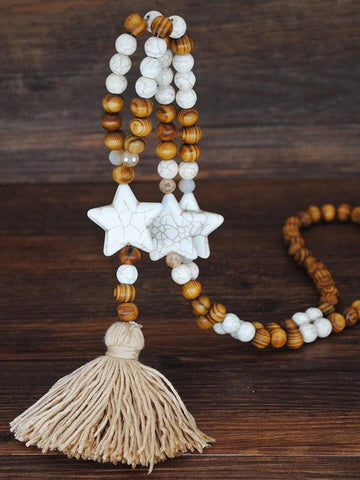 Vintage Handmade Wooden Beads Tassel Necklace Accessories