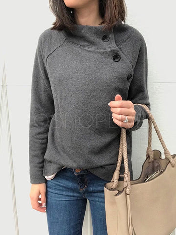 Solid Buttons Round-neck Warm Tops