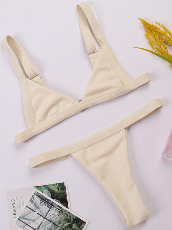 Strap Solid Fashion Bikinis Swimwear