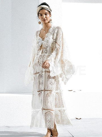 Sexy Hollow Split Lace Maxi Dress