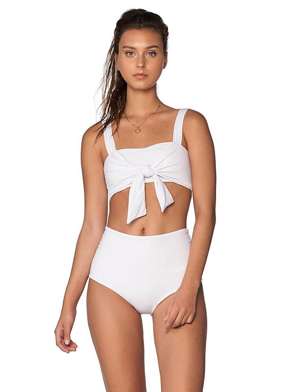 Plunge Neck Top With High Cut Bikini Set