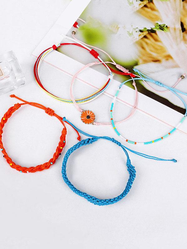 Hand-woven Daisy Pattern Colorful Bracelet