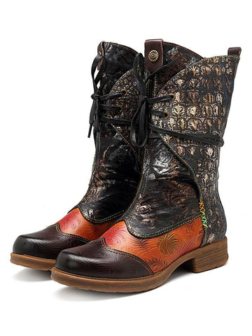 Vintage Joint Cowhide Boots