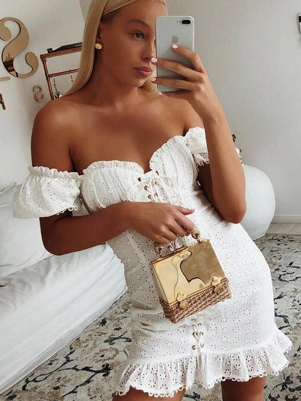 Bandage Lace V-neck Bodycon Mini Dress