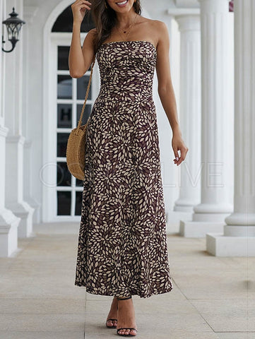 Floral Printed Backless Bohemia Maxi Dress