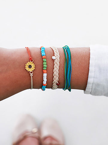 4-piece Sun Flower Wax Braided Bracelet Accessories