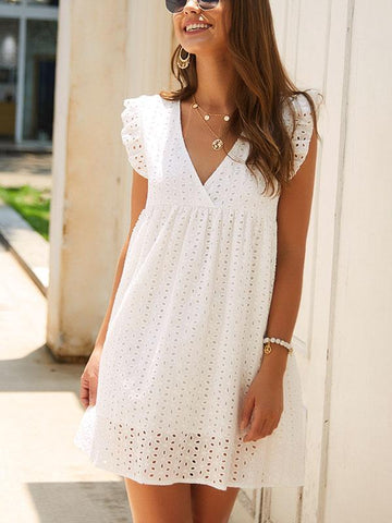 Hook Flower Hollow V-neck Ruffled Sleeve Dress