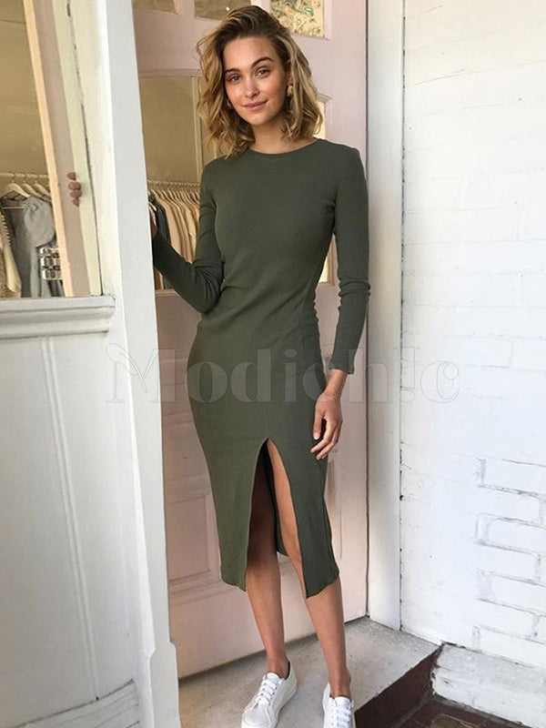 Plain Slim Split Hip Dress