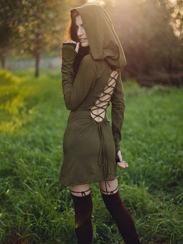 Bandage Backless Hooded Mini Dress