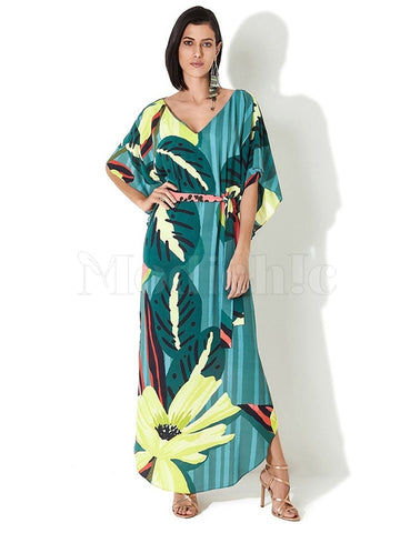 Leaf Watermelon Print V-neck Maxi Dress