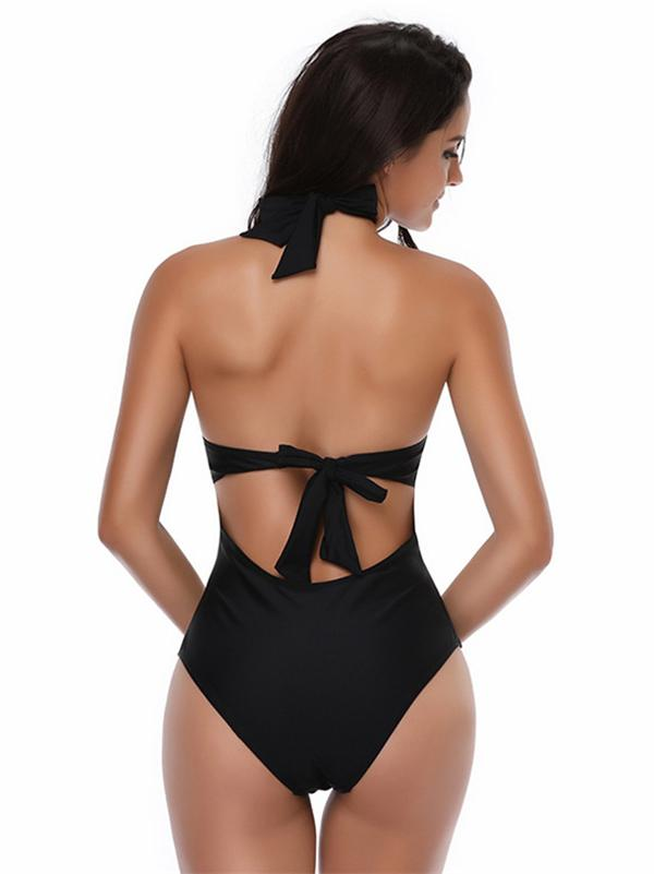 V-neck Bandage Solid One-piece Swimwear