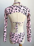 Leopard Long Sleeves Three Pieces Bikinis Swimwear