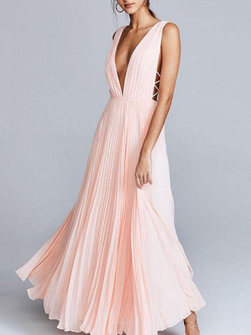 Deep V-neck Backless Evening Dress