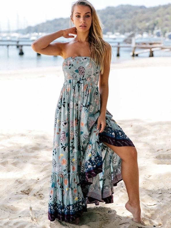 Strapless Backless Bohemia Maxi Dress