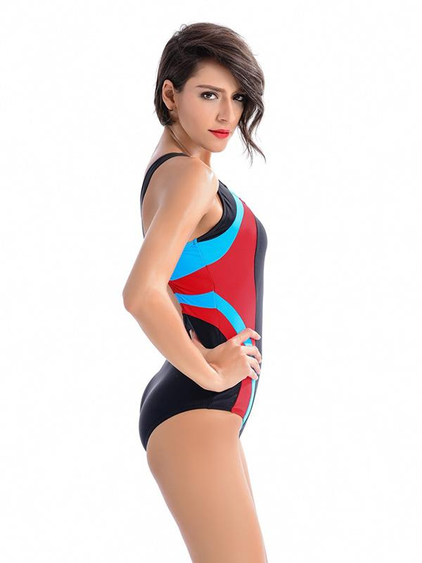 Plus Size Multicolor One-piece Swimwear