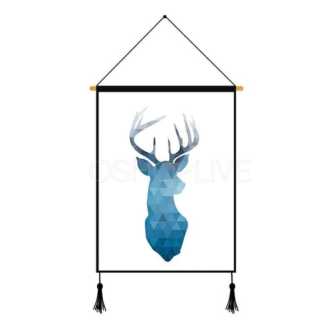 Blue Deer Geometric Pattern Printed Wall Hanging Decoration