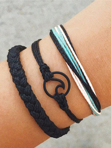 Wavy Shape Twist Braided Bracelet Set