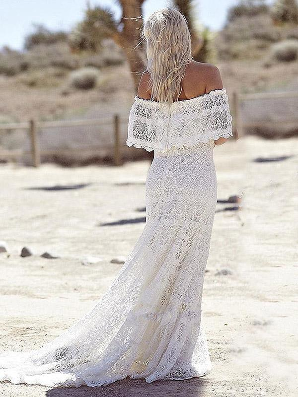 Lace Split-joint Off-the-shoulder Evening Dress