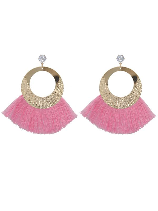Rhinestone Tasseled Metal-ring Big Earrings