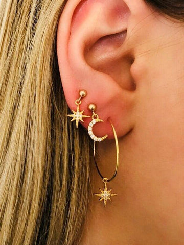 Cropped Star&Moon Designed Earrings