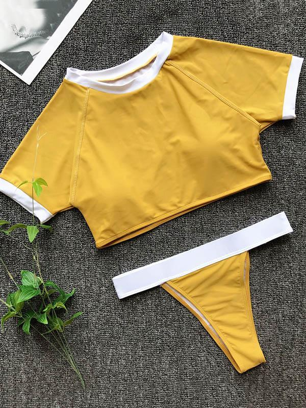 Sport Short Sleeves Bikinis Swimwear