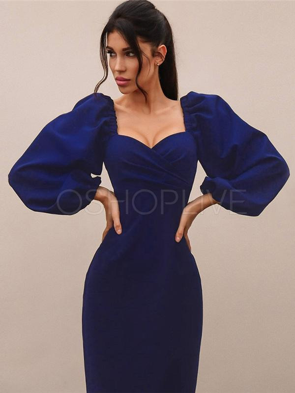 Sexy Solid Backless Off-the-shoulder Midi Dress