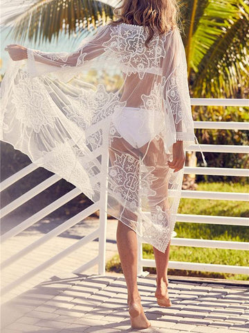 Sexy See-through Lace Hollow Cover-ups Swimwear