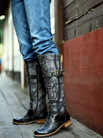 Bohemia Genuine Leather Embroidered Zipper Knee Boots