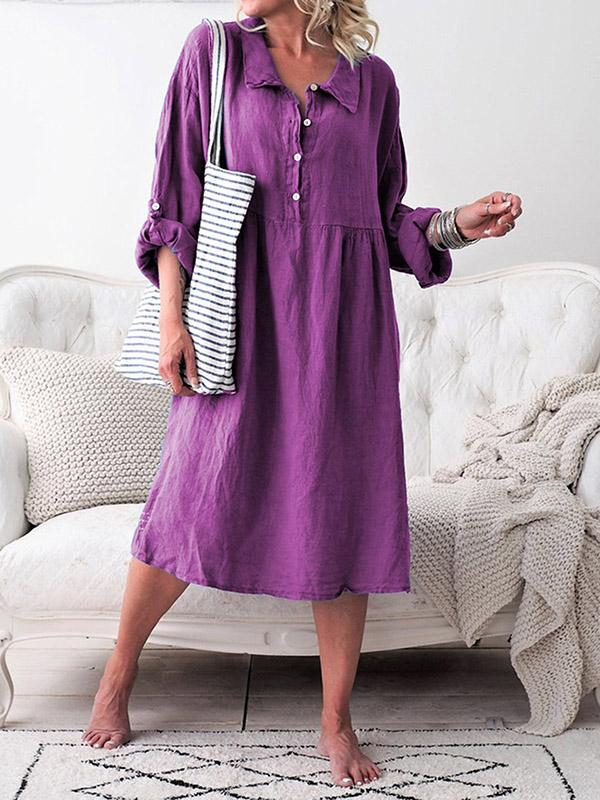 Casual A-line Long Sleeve Midi Dress