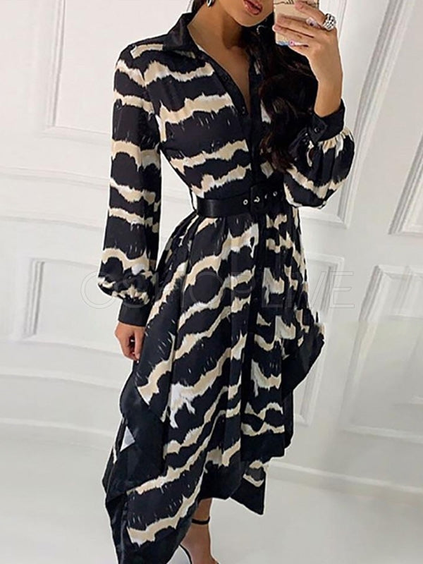 Wavy Print Irregular Hem Midi Dress