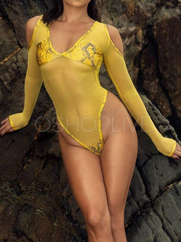 Snake-Print Split-Joint Long Sleeve Backless One-Piece Wetsuits