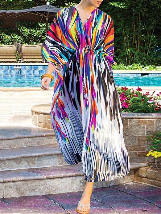 Plus Size Printed Vacation Beach Dress