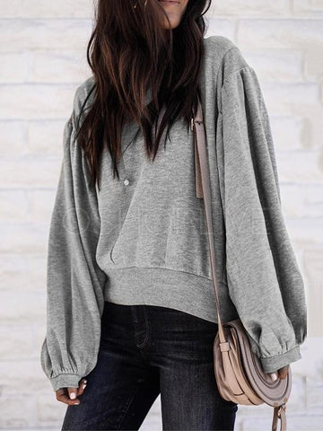 Loose Casual Plain Lantern Sleeve Sweatershirt