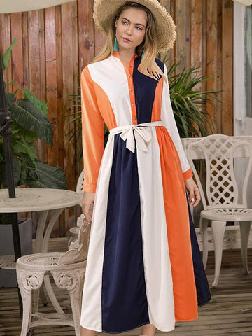 2019 Spring New Contrasting Colour Dress with Belt