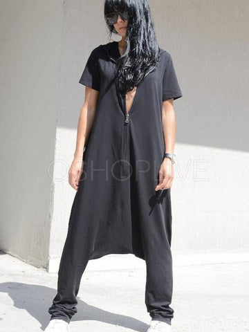 Loose Black Zipper Short Sleeves Jumpsuits