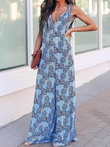 Wide Leg V-neck Printed Jumpsuit