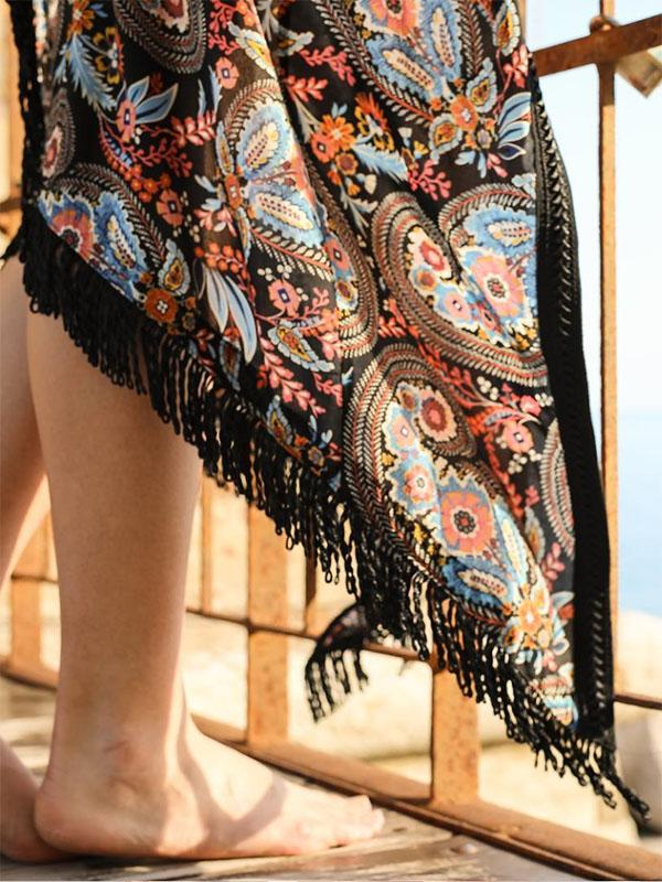 Printed Split-joint Tasseled Beach Cover-up