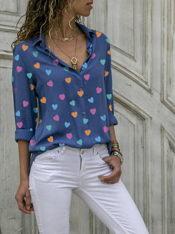 Plus Size Fashion V-neck printed Blouses&shirts Tops