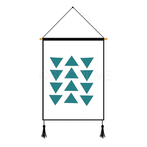 Blue Triangle Printed Wall Hanging Decoration